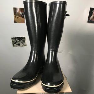 KATE SPADE Black Rubber Rain Boots Size 6